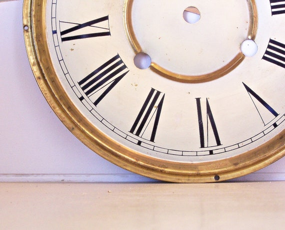 Vntage Clock Face in White and Gold
