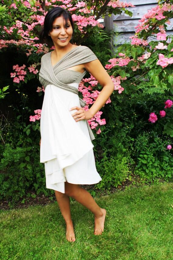 Sage green and Cream Wrap Dress