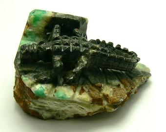Alligator Colombian Emerald Matrix Carving