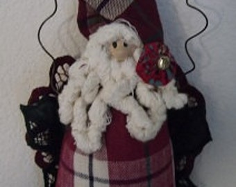 Christmas Decoration - Plaid Santa Claus - Burgandy/Hunter Green