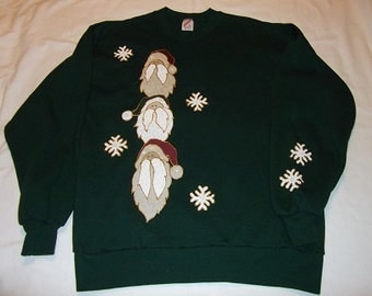 2X Large Adult Sweatshirt - Santas and Snowflakes on hunter green