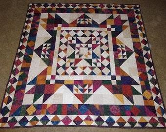 Jewel Tone Batik Patchwork Quilt Blanket
