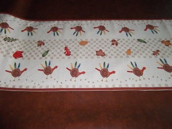 Thanksgiving Table Runner Handprint Turkeys by craftncathy