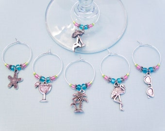 Beach Vacation Wine Charms - Set of 6 Vacation Wine Glass Charms