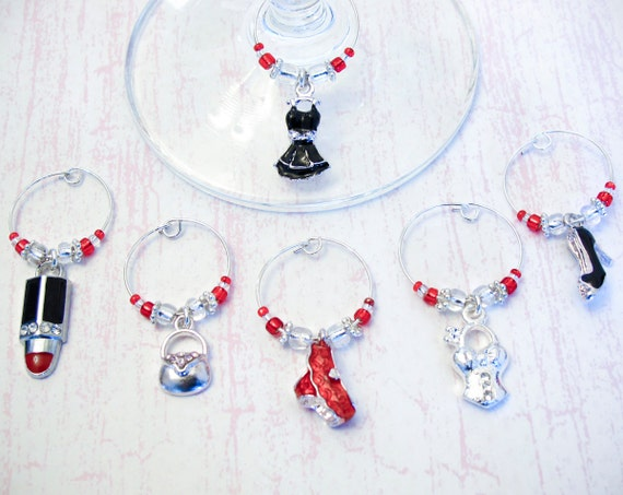 Bachelorette Party Wine Charms - Set of 6 Fashion Girl's Night Out Wine Glass Charms