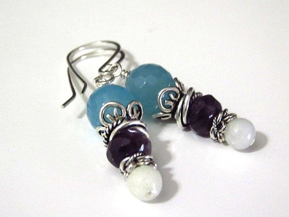 Multi-Color Earrings Stacked Aquamarine Amethyst Amazonite Sterling Silver Jewelry