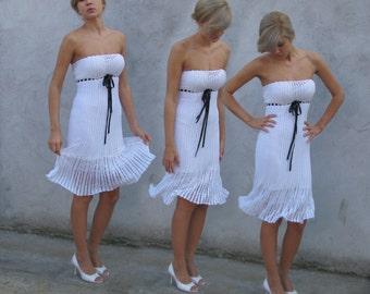 Crochet dress Romantic look silk thread