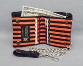 Vegan Chain Wallet Black and Orange Stripe Black Canvas