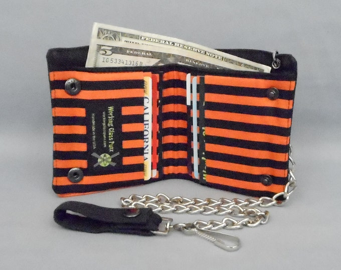 Vegan Chain Wallet Black and Orange Stripe Black Canvas