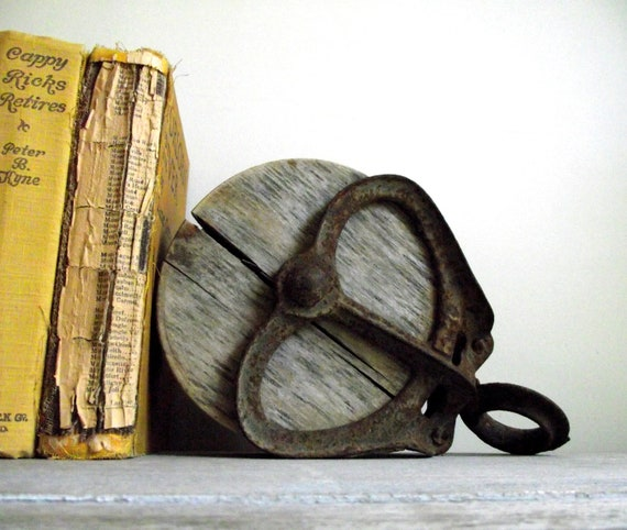 Antique Barn Pulley Industrial Cast Iron and Wood Bookend