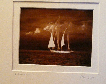 Two Beautiful Matted Photographs by Colorado Artist Alan Klug Signed- Sail Boats on The Water