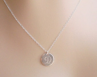Sterling Silver Initial Disc/On Sale/Large Fancy Monogram/1/2 inch Disc/ Thick 20 gauge/ Personalized Necklace/ Custom Monogram