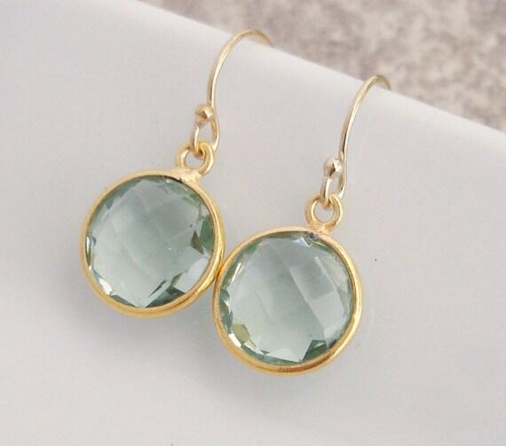 ON Sale Green Amethyst Gemstone Earrings Bezel Set Vermeil 14k Gold Filled French Earwire 1/2 inch Spring Jewelry
