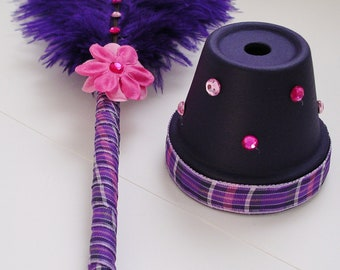 Ostrich Feather Pen & Stand - Purple, Pink and White (Custom Colors Available)