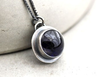Iolite Necklace, Deep Midnight Dark Indigo Blue Iolite Gemstone Oxidized Sterling Silver Pendant Necklace  - Seakissed