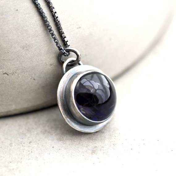 Iolite Necklace, Deep Midnight Dark Indigo Blue Iolite Gemstone Oxidized Sterling Silver Pendant Necklace  - Seakissed