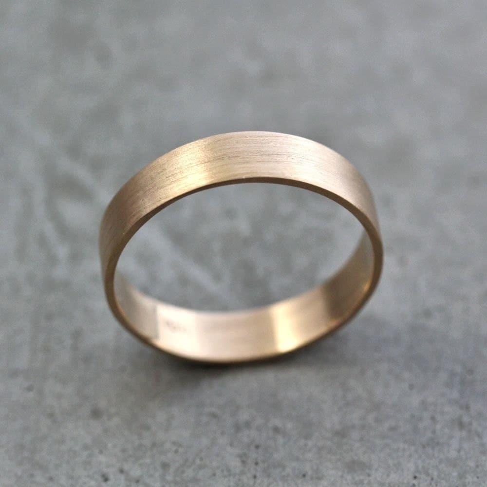 Men S Gold Wedding Band Unisex 5mm Wide Brushed Flat 10k