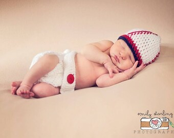 Newborn Baseball Hat and Baseball Diaper Cover Set, Newborn to 12 months sizes, Photography Prop