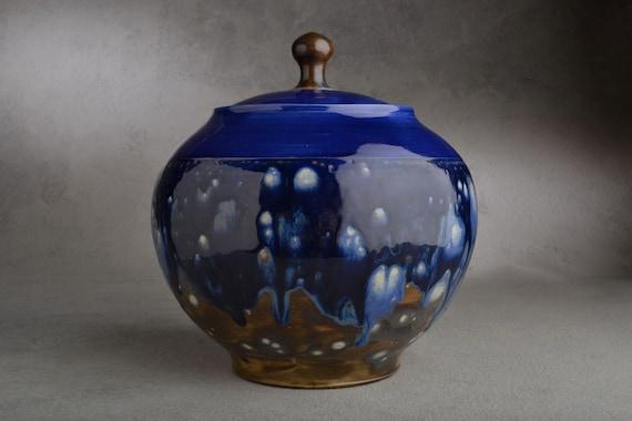 Lidded Jar Ready To Ship Starry Night Wheel Thrown Lidded Jar by Symmetrical Pottery
