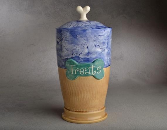 "Dog Treat Jar Ready To Ship: ""Treats"" Mocha & Blue Dog Treat Jar by Symmetrical Pottery"