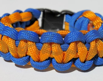 "Blue and Gold Inspired 550 Paracord Survival Strap Bracelet Anklet w/ 3/8"" Buckle Gamer Gaming"