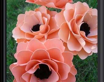 Paper Flowers - Wedding Bouquet - Home Decor - Bridal Shower Decor - Stemmed - Made To Order - Salmon - Set of  12