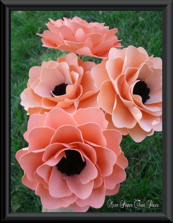 Paper Flowers - Wedding Bouquet - Home Decor - Bridal Shower Decor - Stemmed - Made To Order - Salmon - Set of  30