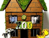 Custom Zoo Animal Hand-Painted Paper Mache House