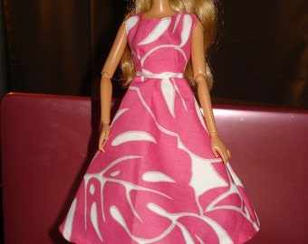 Hot pink leaf print 50's style dress for Fashion Dolls - ed241