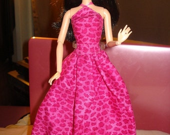 Fancy two piece formal dress in hot pink Leopard print for Fashion Dolls - ed251