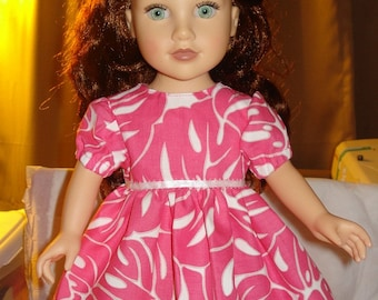 Bright pink and white leaf print dress for 18 inch Dolls - ag102