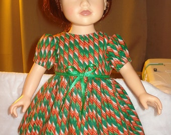 Holiday full dress with red and green ribbon candy print for 18 inch Dolls - ag114