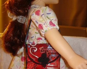 Asian red Satin purse for 18 inch Dolls - agp2