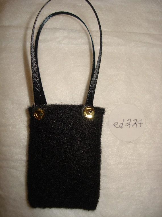 Handmade Barbie Doll sized black felt purse - ed224