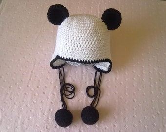 Panda Hat with Earflaps and Pom Poms Ready to Ship