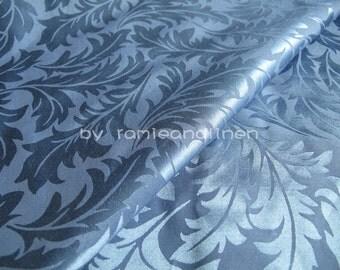 "silk fabric, blue leaves brocade/ jacquard weave silk cotton blend fabric, half yard by 44"" wide"