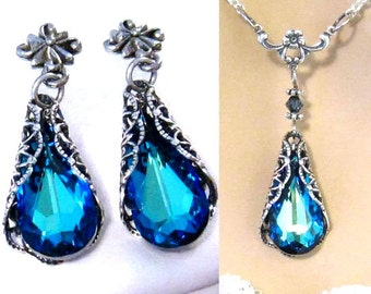 Victorian Crystal Earrings, Crystal Bridal Necklace: Victorian Wedding Jewelry, Bridesmaids Set, Victorian Bridal Jewelry, Swarovski Blue