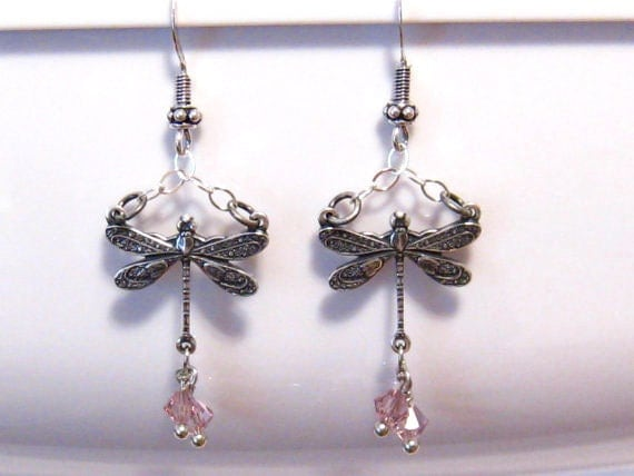 Victorian Dragonfly Earrings with Purple Swarovski Crystal and Bali Silver, Antiqued Sterling Silver Dragonfly Earrings
