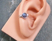 Labradorite and Sterling Silver Wire-Wrapped Ear Cuff