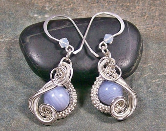 """Blue Lace Agate, Swarovski crystal & Sterling Silver Wire-Wrapped """"Swish"""" Earrings"""