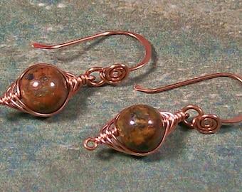 African Green Opal & Copper Herringbone Earrings