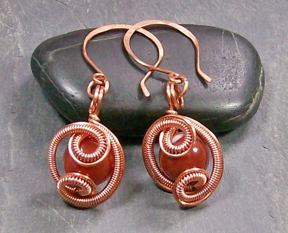 "Carnelian & Copper ""Loop de Loop"" Earrings"