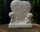 VTG Lovely Romantic White Creamic Heart and Cherub Vase Planter