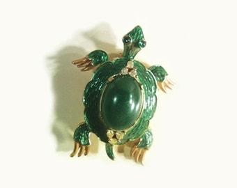 Trifari Jelly Belly Turtle Alfred Philippe 1960s Vintage Costume Jewelry