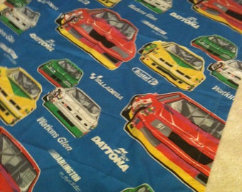Vintage Race Cars Curtain, Primary Colors, Retro Kids