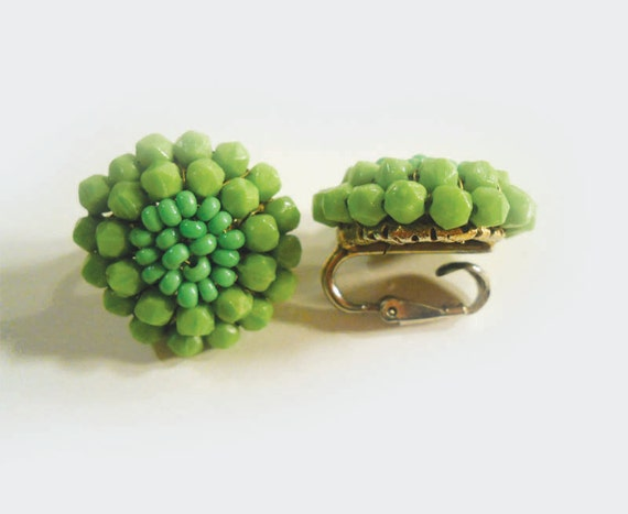 Signed Vogue Clip Earrings, Vintage Costume Jewelry, Avocado Green