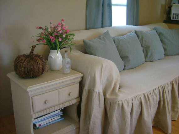 shabby chic sofa slipcover throw. Black Bedroom Furniture Sets. Home Design Ideas