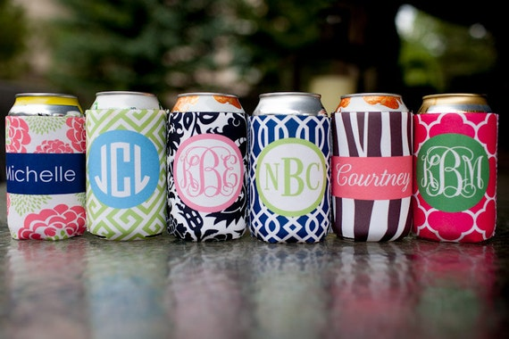 set of 6 monogrammed drink beverage insulator - choose from six template designs, customize name/initials only