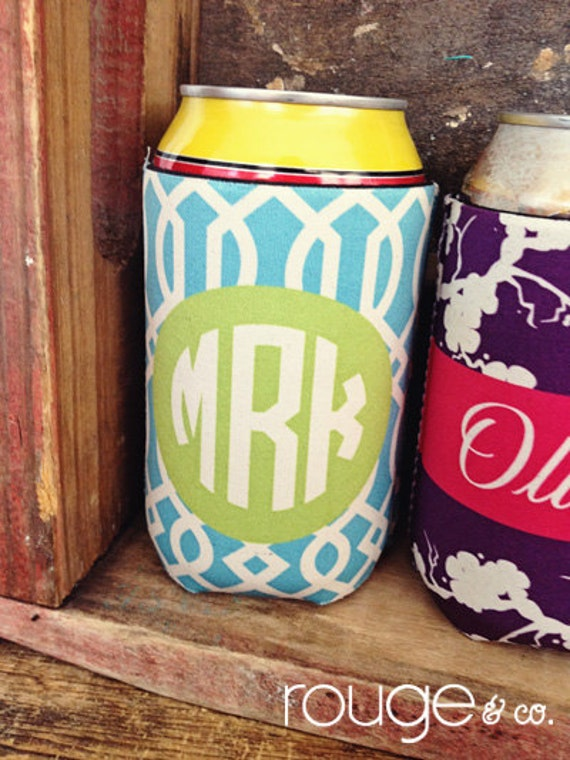 TRELLIS monogrammed can coolie, personalized coolie, beer coolie, bottle coolie - weddings, bachelorette, birthday, beach, patio, pool