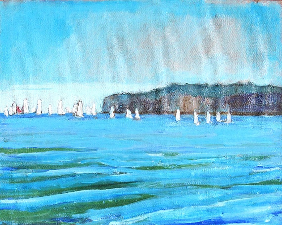 San Clemente Sailboat Seascape - Original California Landscape Painting